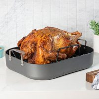 """Viking 16"""" Hard Anodized Nonstick Roaster with Rack"""