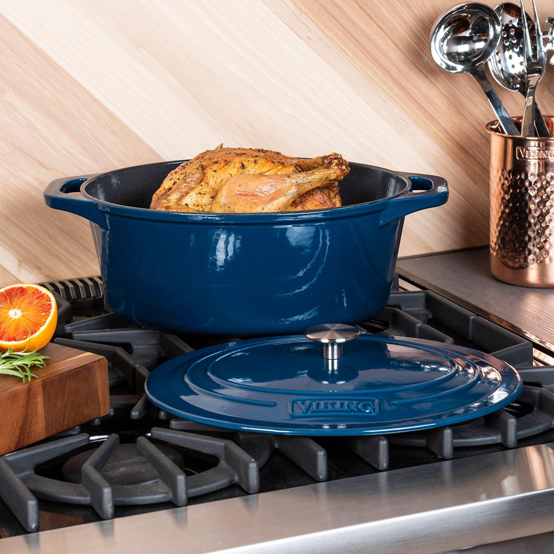 Viking 7-Quart Enamel Coated Cast Iron Dutch Oven/Roaster