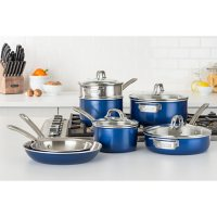 Viking 2-Ply Aluminum and Stainless Steel 11-Piece Cookware Set with Vented Glass Lids (Assorted Colors)