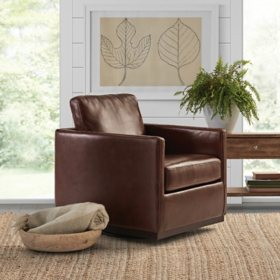Cole & Rye Leather Swivel Chair, Assorted Colors