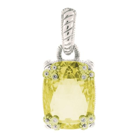Judith Ripka Canary Crystal Cushion Stone Pendant