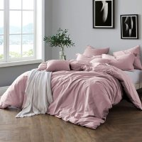 Swift Home Pre-Washed Cotton Duvet Cover and Sham Bedding Set Deals
