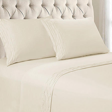 Wrinkle Resistant Diamond Ruched Sheet Set, Various Colors