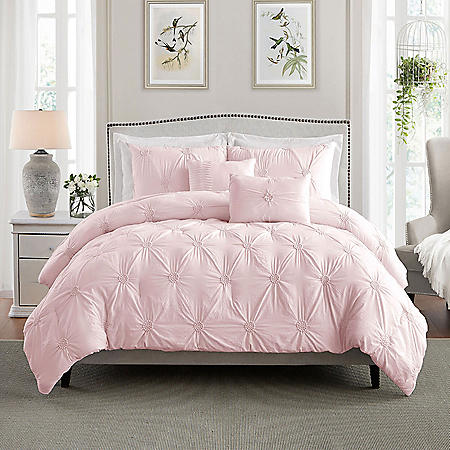 Swift Home Premium Collection Ultra Plush Floral Pintuck Comforter Set (Assorted Sizes and Colors)
