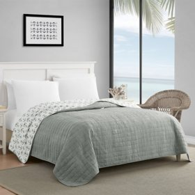 Caribbean Joe Enzyme Washed Crinkle Coastal Reversible Oversized Quilt (Assorted Sizes and Colors)