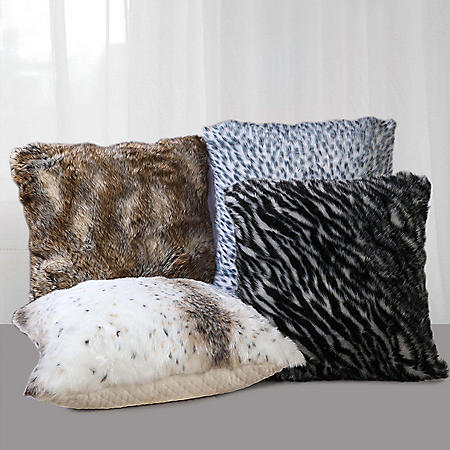 """Swift Home Faux Fur Pillows, 22"""" x 22"""" (Assorted Colors)"""