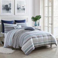 Swift Home Talise Cotton Dobby Weave Slub Stripe Yarn-Dyed3-Piece Comforter Set (Assorted Sizes and Colors)