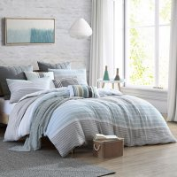 Swift Home Cordelia Pre-washed Yarn-Dyed 100% Cotton Gauze Stripe Duvet Cover Set (Assorted Sizes and Colors)