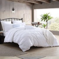 Swift Home Moselle 100% Cotton Ruched & Waffle Weave Duvet Cover Set (Assorted Sizes and Colors)