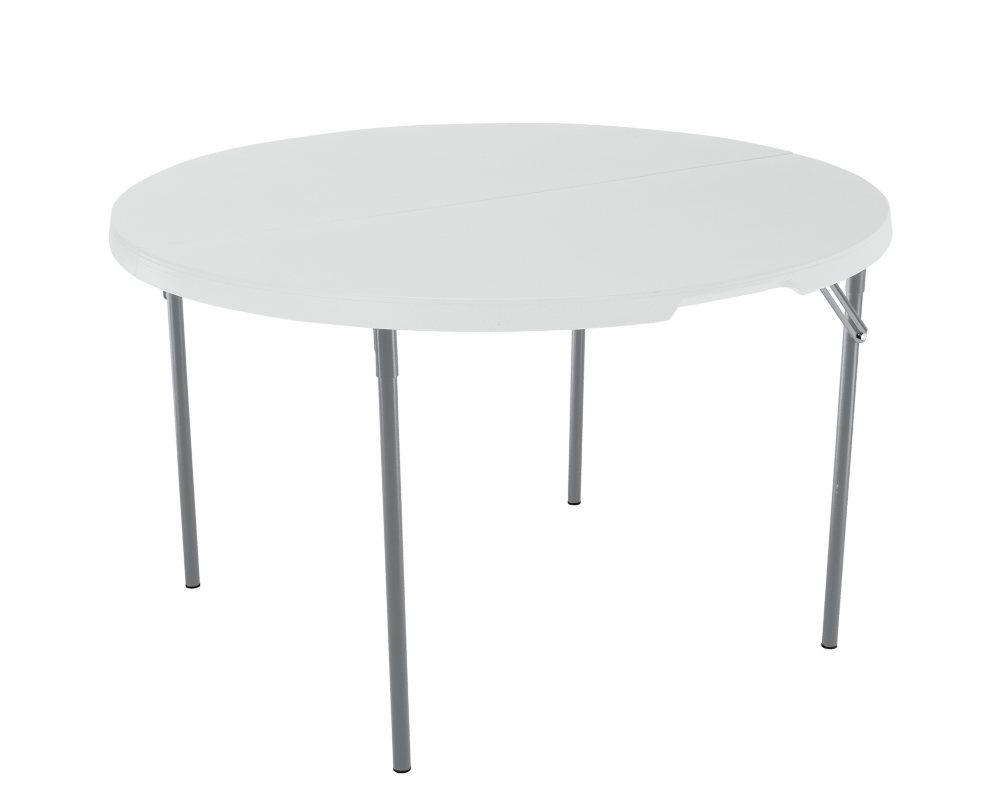 Lifetime 48 Round Fold in Half Commercial Grade Table, White Granite