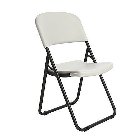 Lifetime Loop-Leg Contoured Folding Chair, 4 Pack, White Granite