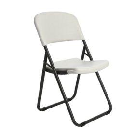 Lifetime Loop-Leg Contoured Folding Chair, 4 Pack, White Granite