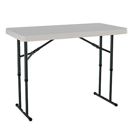 Lifetime 4' Adjustable Commercial Grade Folding Table, Various Colors