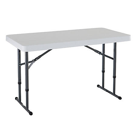 Lifetime 4' Adjustable Commercial Grade Folding Table, Various Colors