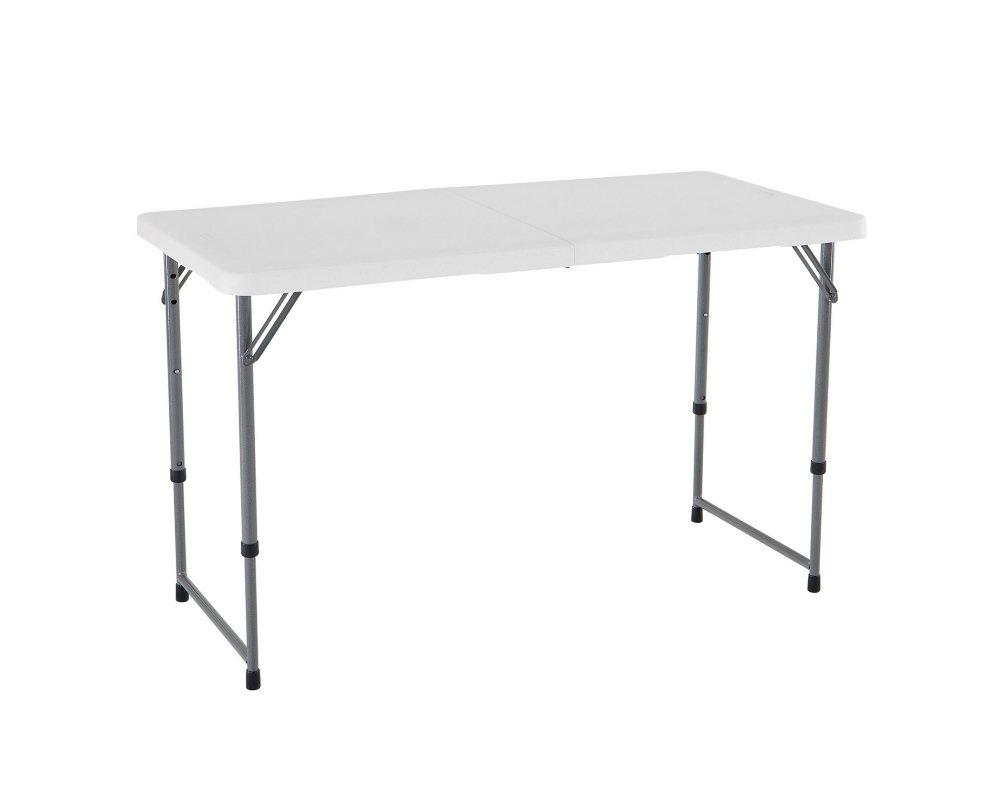 Lifetime 4 Light  Adjustable Fold in Half Commercial Grade Table, White Granite