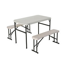Lifetime Recreation/Sport Table Set - Almond