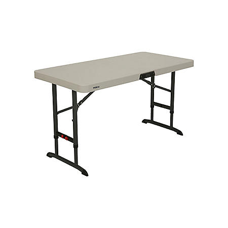 Lifetime 4' Commercial Grade Adjustable Folding Table, Almond
