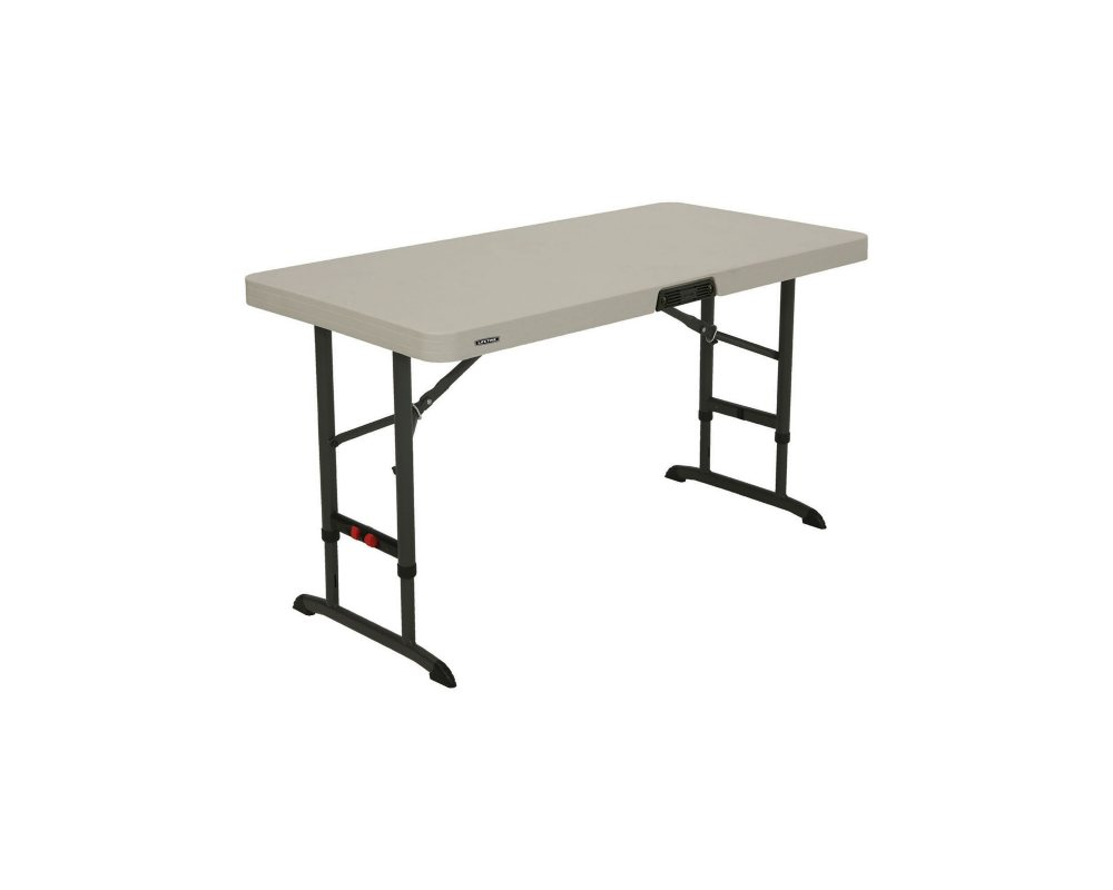 Lifetime 4 Commercial Grade Adjustable Folding Table, Almond