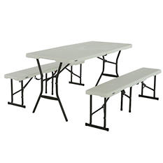 Lifetime 5u0027 Fold In Half Table And Bench Combo, Pearl