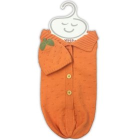 NYGB 2-Piece Snuggle Sack and Hat Set, Pumpkin
