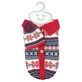 NYGB 2-Piece Snuggle Sack and Hat Set, Holiday Red