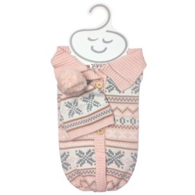 NYGB 2-Piece Snuggle Sack and Hat Set, Peach