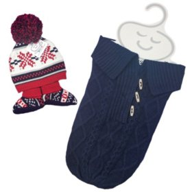 NYGB Fisherman Cable Snuggle Sack, Large Pom Hat and Booties Newborn Set, Red/Navy