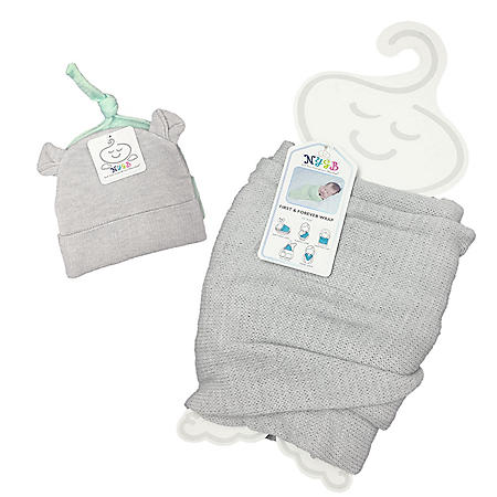 17698024dc3 NYGB First and Forever Wrap with 2-Piece Hat Newborn Set