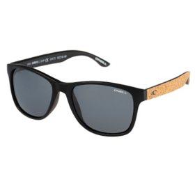 O'Neill Corkie Polarized Sunglasses, Matte Black/Cork Frames and Solid Smoke Lens