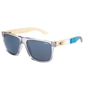 O'Neill Hardwood Polarized Sunglasses, Gray Crystal Frames and Solid Smoke Lens