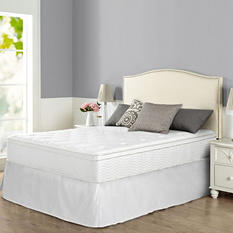 "Night Therapy iCoil 12"" Euro Boxtop Spring Mattress and SmartBase Bed Frame Set, Full"