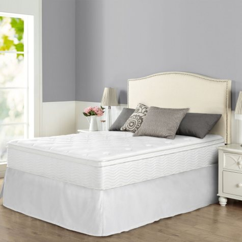 """Night Therapy iCoil 12"""" Euro Boxtop Spring Mattress and SmartBase Bed Frame Set, Full"""