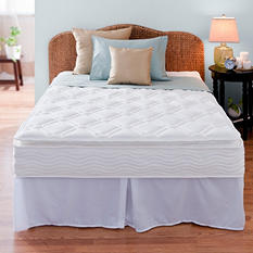 """Night Therapy iCoil 10"""" Pillowtop Spring Mattress and SmartBase Bed Frame Set, King"""