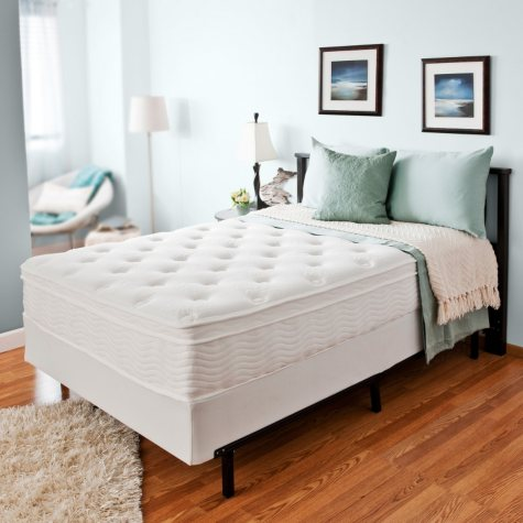 """Night Therapy iCoil 12"""" Euro Boxtop Spring Mattress and Bi-Fold Box Spring Set, Queen"""