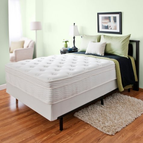 """Night Therapy iCoil 13"""" Deluxe Euro Box Top Spring Mattress and Bi-Fold Box Spring Set, Full"""