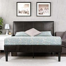 Expresso Faux Leather Platform Bed (Assorted Sizes)