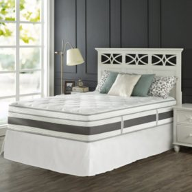 """Zinus Night Therapy Set Spring 14"""" Fusion Gel Memory Foam Hybrid King Mattress and SmartBase Bed Frame"""