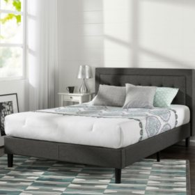 Night Therapy Upholstered Platform Bed with Wooden Slats, Dark Gray (Assorted Sizes)