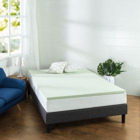 "Zinus Night Therapy 1.5"" Green Tea Memory Foam Mattress Topper (Assorted Sizes)"