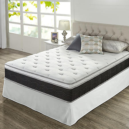 "Zinus Night Therapy 12"" iCoil Premium Support King Mattress and SmartBase Set"