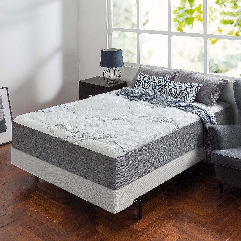 Zinus Night Therapy Memory Foam 12″ Cloud King Mattress and BiFold Box Spring Set