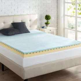 "Zinus Night Therapy 4"" Gel Swirl Memory Foam Mattress Topper"