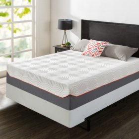 "Zinus Night Therapy 14"" Cooling Memory Foam and iCoil Hybrid Queen Mattress and BiFold Box Spring"