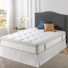 "Zinus Night Therapy iCoil 12"" Euro Boxtop Spring Mattress and SmartBase Bed Frame Set, Full"