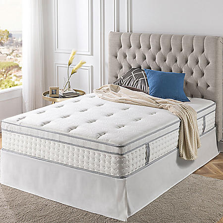"Zinus Night Therapy iCoil 13"" Euro Boxtop Spring Queen Mattress and SmartBase Bed Frame Set"