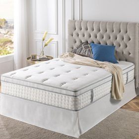 "Zinus Night Therapy iCoil 13"" Euro Box Top Spring Queen Mattress and SmartBase Bed Frame Set"