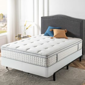 "Zinus Night Therapy iCoil 12"" Euro Boxtop Spring Mattress and Bi-Fold Box Spring Set, Queen"