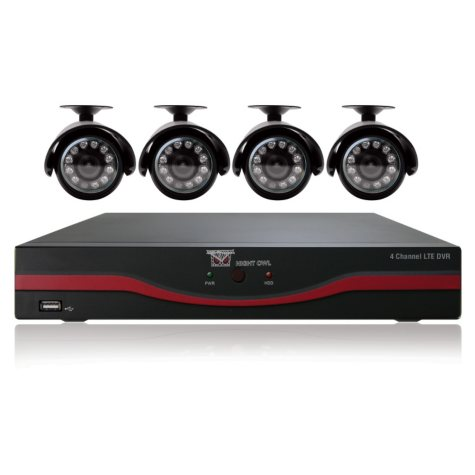 Night Owl 4 Channel Security System with 4 x 420TVL Cameras, 30' Night Vision, and 500GB DVR