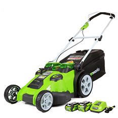GreenWorks G-MAX 40V Li-Ion Twin Force Lawn Mower, Dual Blade