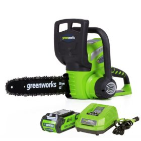 "GreenWorks G-MAX 40V 12"" Cordless Chainsaw with 2AH Battery and Charger Inc."